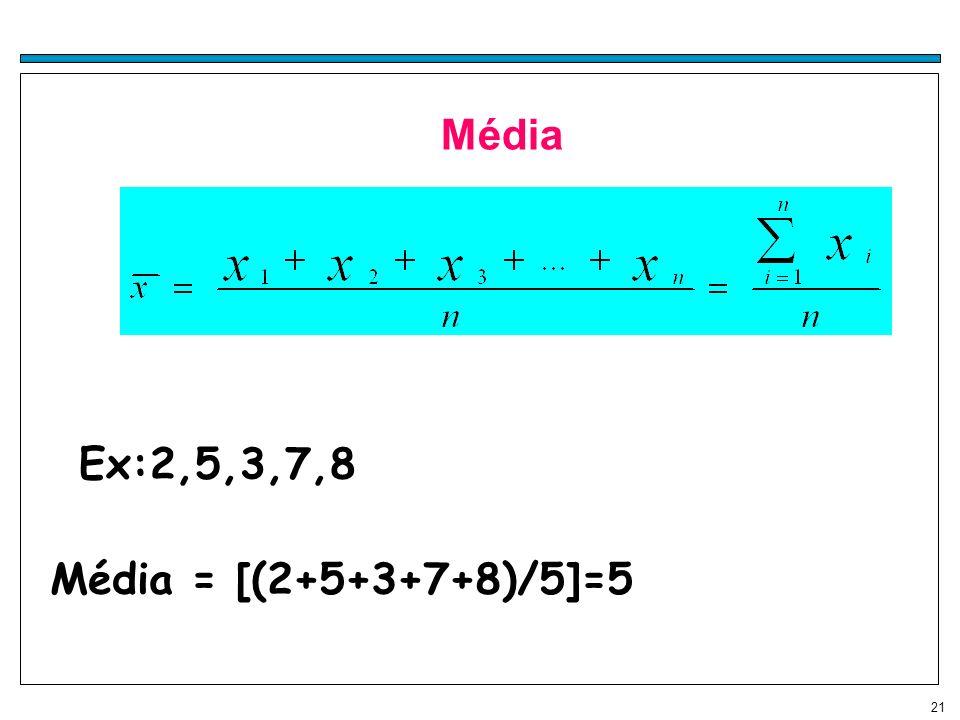 Média Ex:2,5,3,7,8 Média = [(2+5+3+7+8)/5]=5